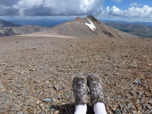 My feet, atop 14,258-foot Mt. Cameron in the Colorado Rockies. Taken on a camera, not my iPhone.