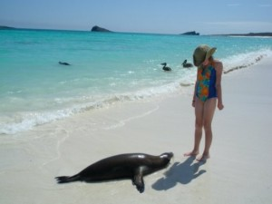 My daughter Bryn makes a new friend in the Galapagos Islands