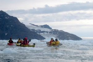 Stuck in the brash ice in Nansen Fjord, East Greenland. Image copyright: Olaf Malver