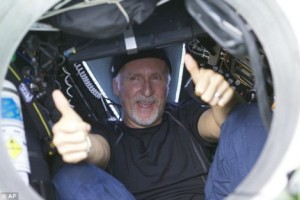 James Cameron resurfaces after reaching the bottom of the Mariana Trench on March 25, 2012. Photo copyright: Associated Press