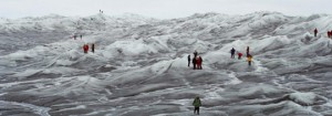 Tourist walking atop a glacier in Greenland. Photo: Greenland Tourism