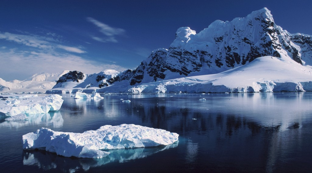Icebergs and mountains in Antarctica landscape