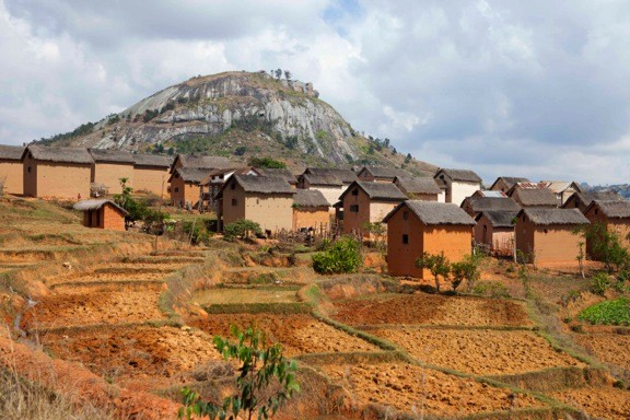 Traditional countryside village in Southern Madagascar