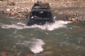 Our Land Cruiser fording one of the rivers - no problem! © Olaf Malver