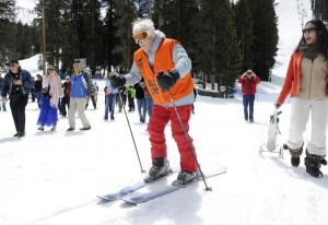 Elsa Bailey skiing for her 100th birthday at A-Basin
