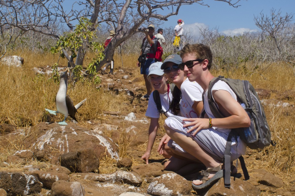 Family traveling through the Galapagos Islands