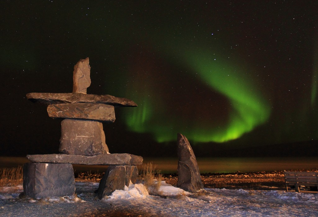An inukshuk on Hudson Bay, Canada. Inukshuks are believed to have been used by native Arctic peoples for navigational purposes. © Brad Josephs/NHA