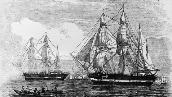 Franklin Expedition ships HMS Erebus and HMS Terror, as pictured in the illustrated London Weekly