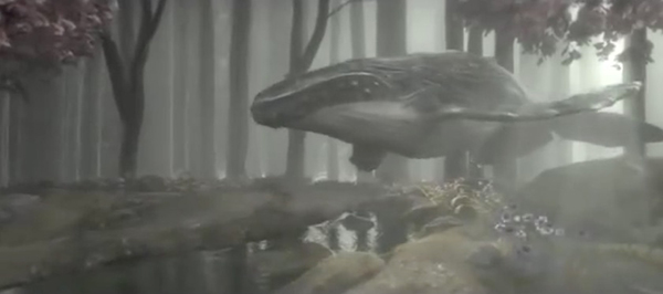 Whale in a forest