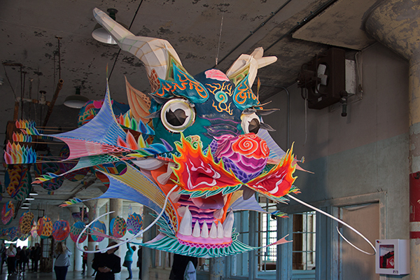 In one of the Ai Weiwei installations, a traditional Chinese dragon kite embodies political power. ©Candice Gaukel Andrews