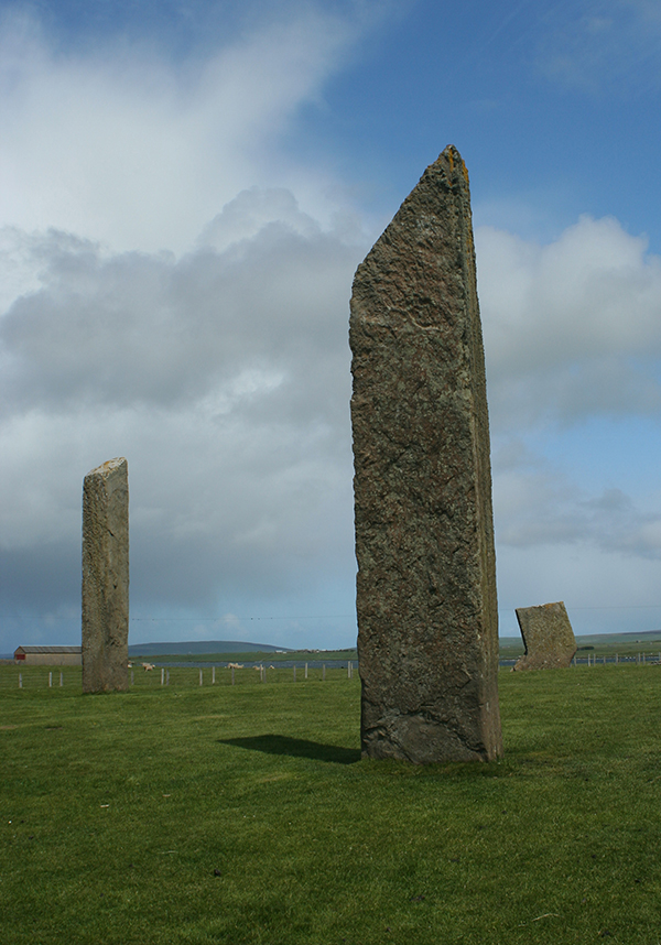 Standing 19 feet tall, the megaliths that make up the Stones of Stenness can be seen for miles around. ©Candice Gaukel Andrews