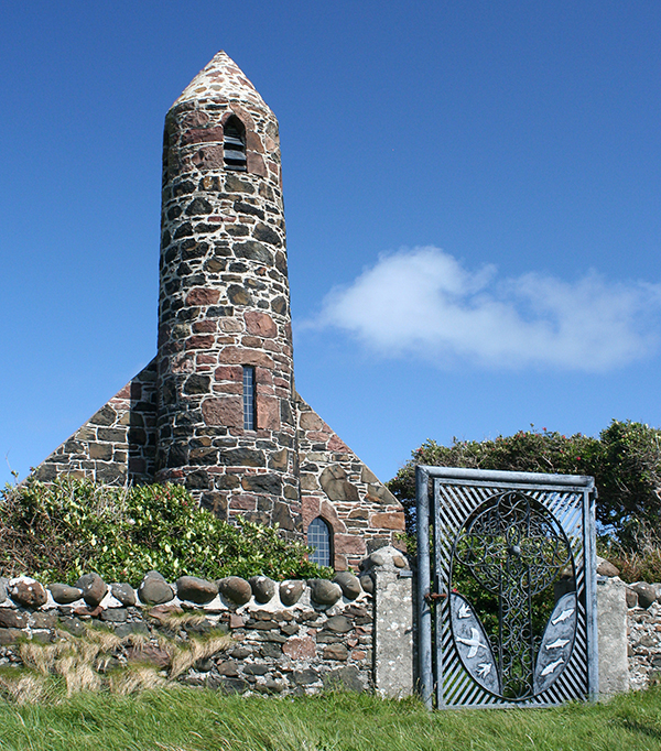 "Scotland has over 790 offshore islands, most of which are to be found in four main groups: Shetland, Orkney, and the Hebrides, sub-divided into the Inner Hebrides and Outer Hebrides. A huge number of them have some kind of church connection or are dominated by a church. Pictured here is Canna Island's ""Rocket Church."" ©Candice Gaukel Andrews"