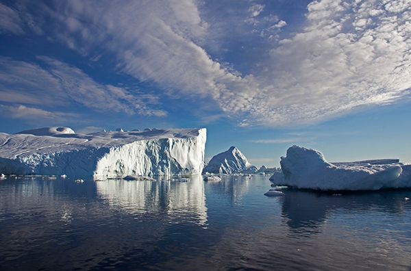 "A ""tabular berg"" is flat-topped and forms as ice breaks directly off an ice sheet or ice shelf. ©Candice Gaukel Andrews"