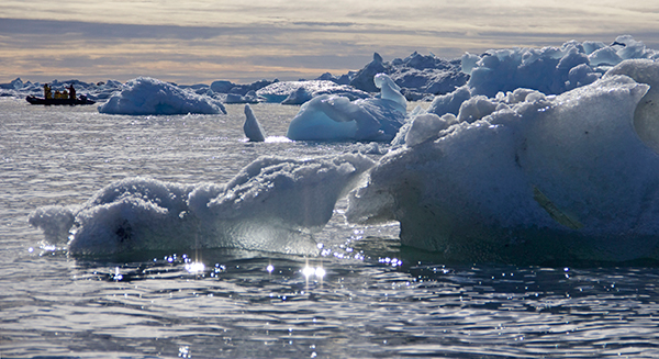 Inflatable Zodiac boats are ideal for cruising among icebergs. ©Candice Gaukel Andrews