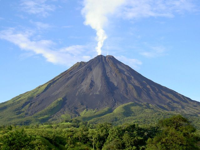 Arenal Volcano smoking above the Costa Rican rainforest