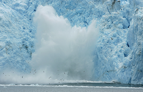 The calving of glaciers is one of the largest contributors to sea level rise. ©Eric Rock