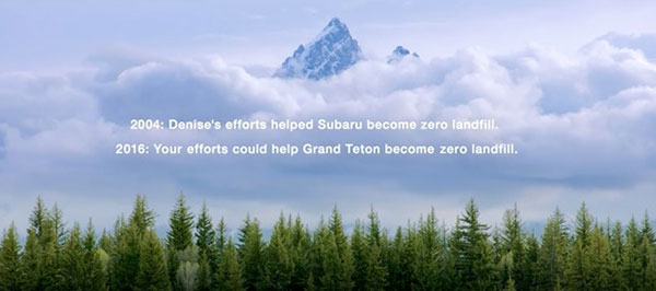 Your efforts could help Grand Teton National Park send zero wastes to landfills. ©Subaru of America, Inc.