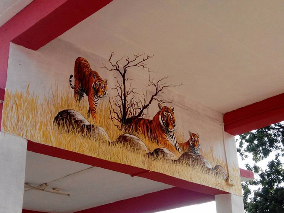 Tiger mural at Sawai Madhopur Railway Station