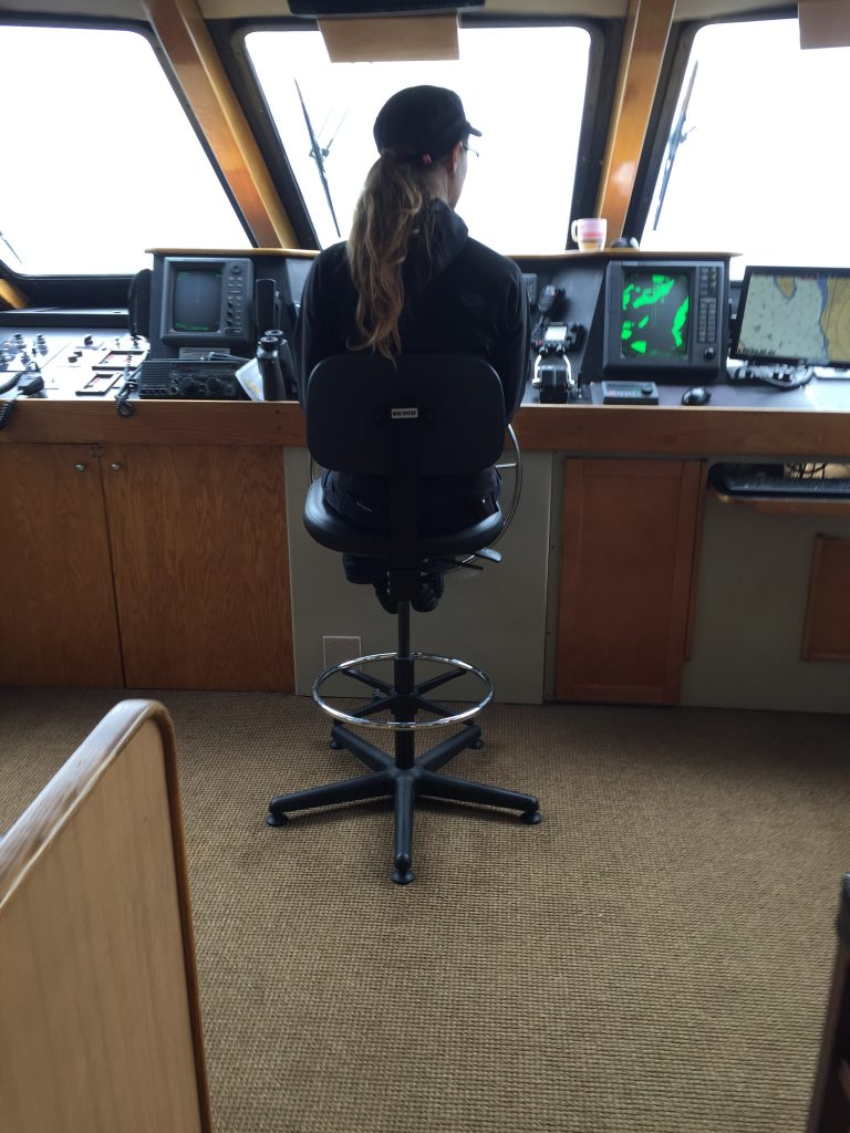 Captain Denee Blanchard on the bridge of the Safari Quest on Alaska's Inside Passage in early August, 2016. © Diane Quigley/WWF-US