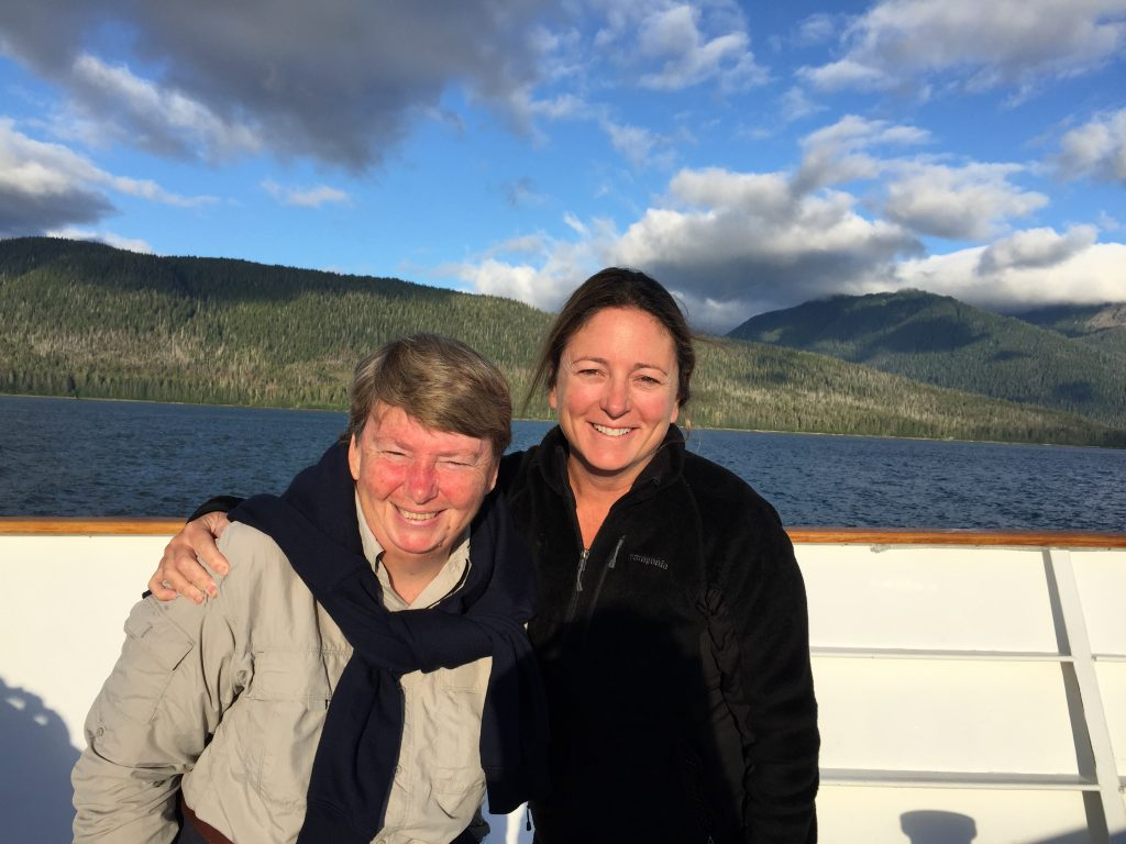 Cathy (left), my bunkmate from Australia, as we passed by Petersburg, Alaska on Aug. 8, 2016. © Diane Quigley/WWF-US