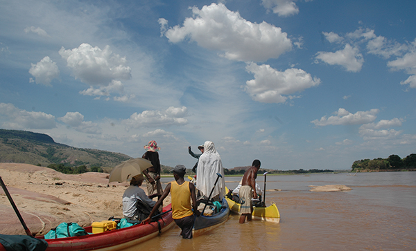 Wading in the Manambolo in Madagascar
