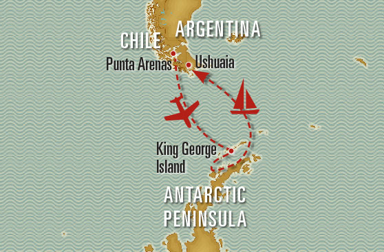 Map of Antarctica Tour Package