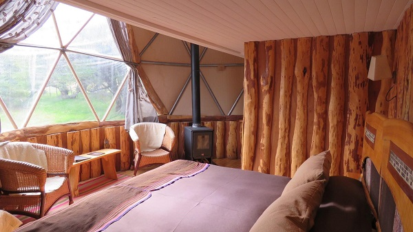 Inside the suite dome at EcoCamp Patagonia