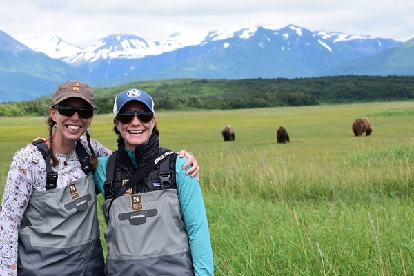 Travelers with wild bears in Alaska