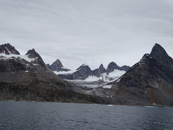 Mountains over Sermilik Fjord in East Greenland