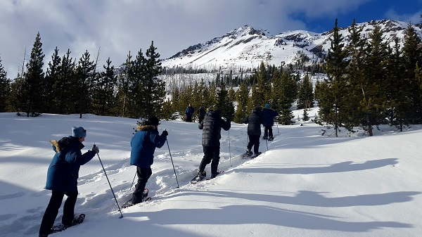 Snowshoeing is a wonderful and peaceful way to explore Yellowstone National Park in the winter.