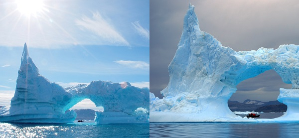 What a difference a day makes. On the left, a gigantic iceberg dwarfs our Zodiac on a sunny day in Sermilik Fjord. On the right, the same berg a day later, after ice melt and stormy conditions.