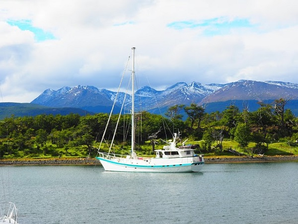 SV Australis anchored in Ushuaia