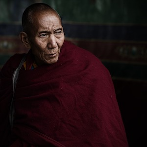 Older, male Tibetan monk in scarlet robes gazing off into the distance