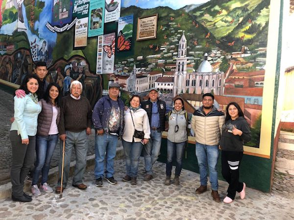 The inauguration of a monarch mural restored in the Mexican town of Angangueo
