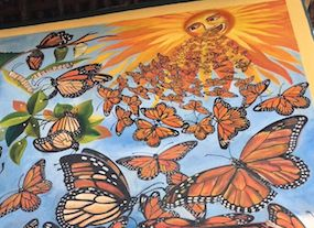 Butterflies painted on a mural in Mexico