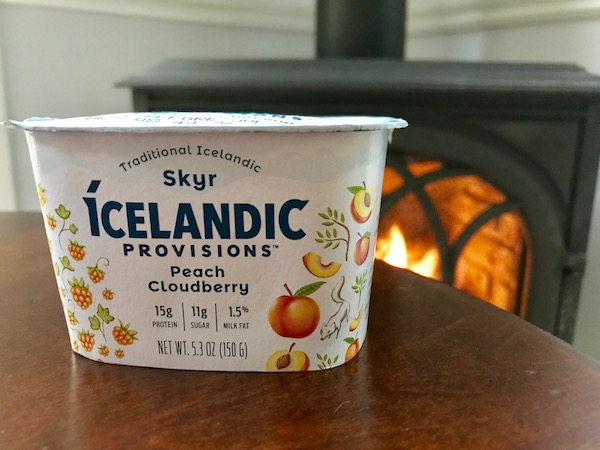 Icelandic skyr with fireplace behind it.