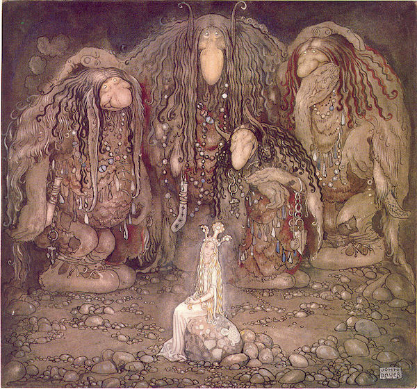 Painting of Scandinavian trolls and their mother.