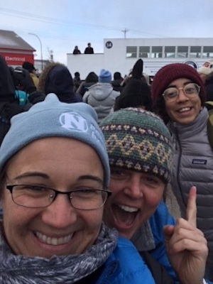 Members of Nat Hab's Operations Team, Andrea Reynold, Karin Lang and Rachael Thomas rejoice in Churchill