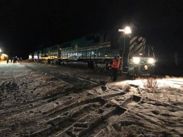 The train rolls into Churchill for the first time since the floods of May 2017