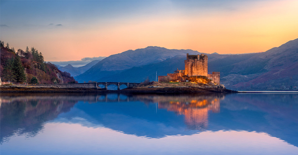 Castle at dusk in Scotland.