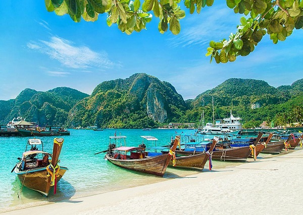 Andaman Islands beach with boats.