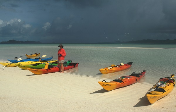 Kayaks on the beach in Palau.