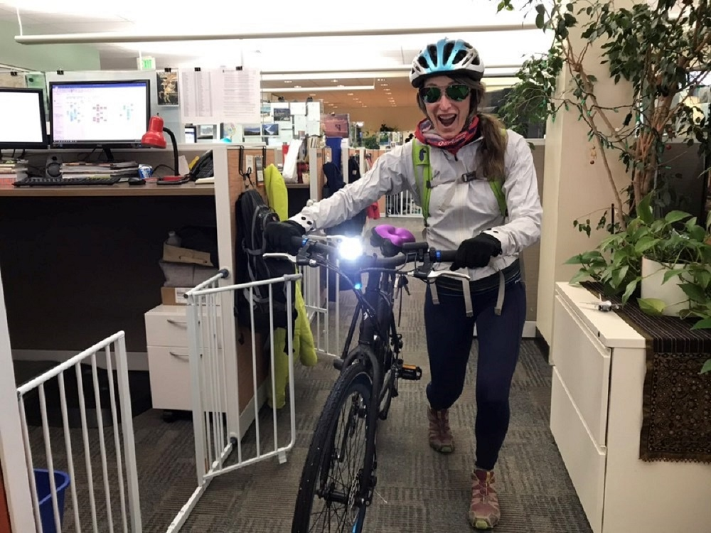 Employee bikes to work