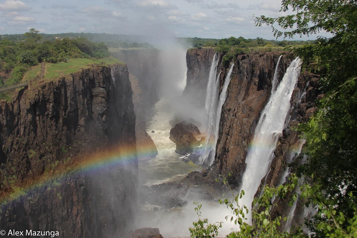 Rainbows at Victoria Falls in Zimbabwe.