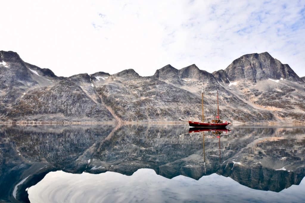 A ship on the lake in Greenland.