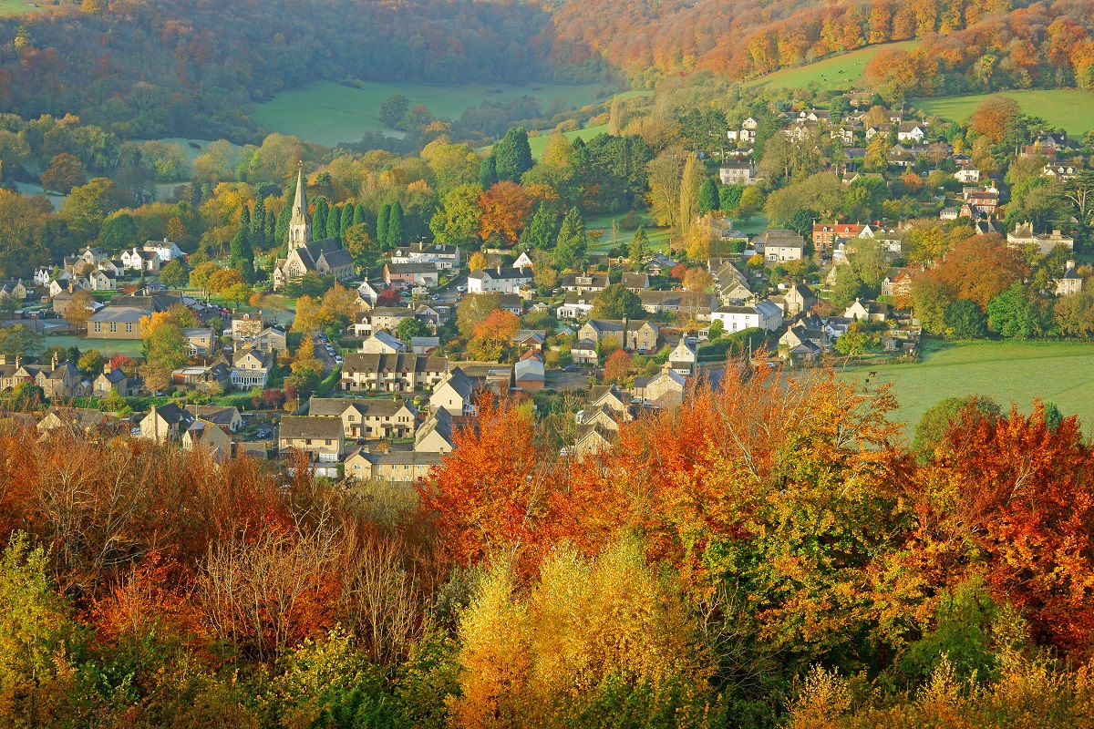 A village in the Cotswolds, England during autumn.
