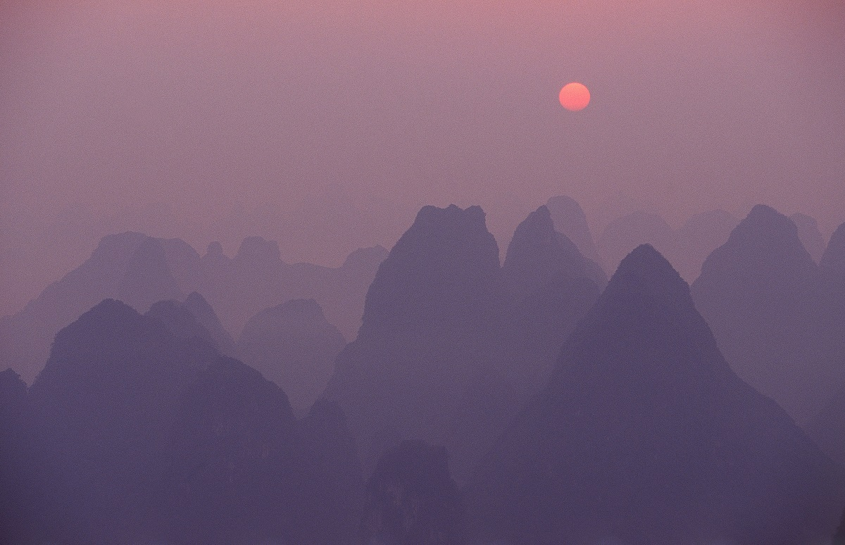 Mountains in China at dawn.