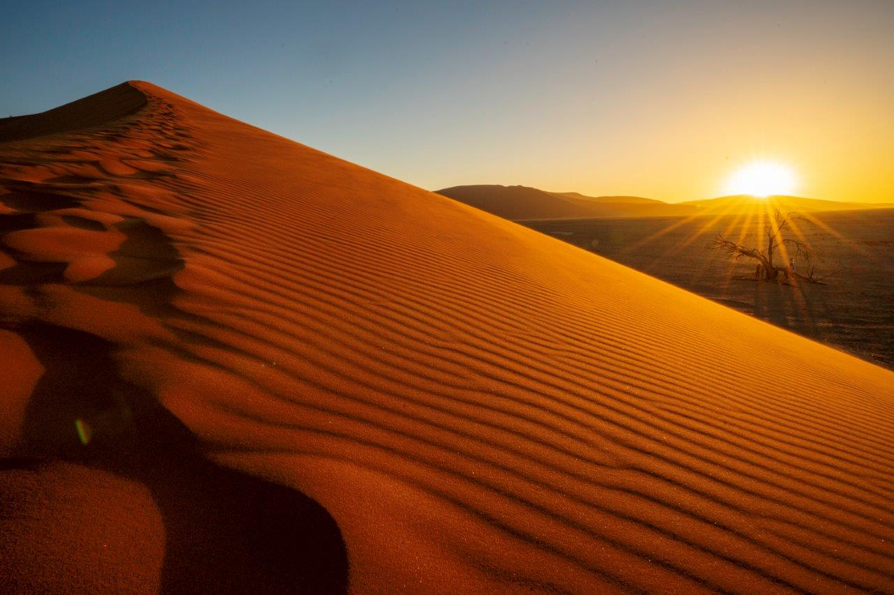 Endless dunes at sunset in Namibia