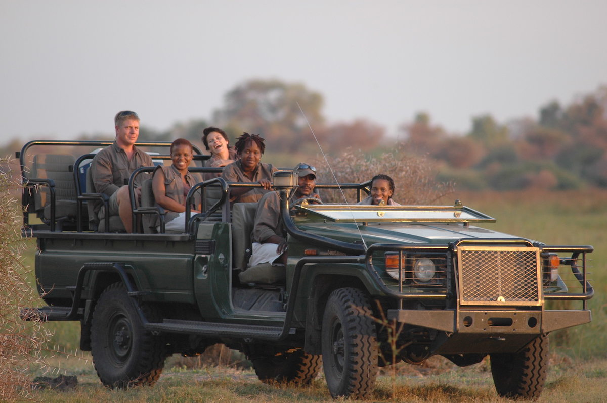 Travelers in Botswana on safari.