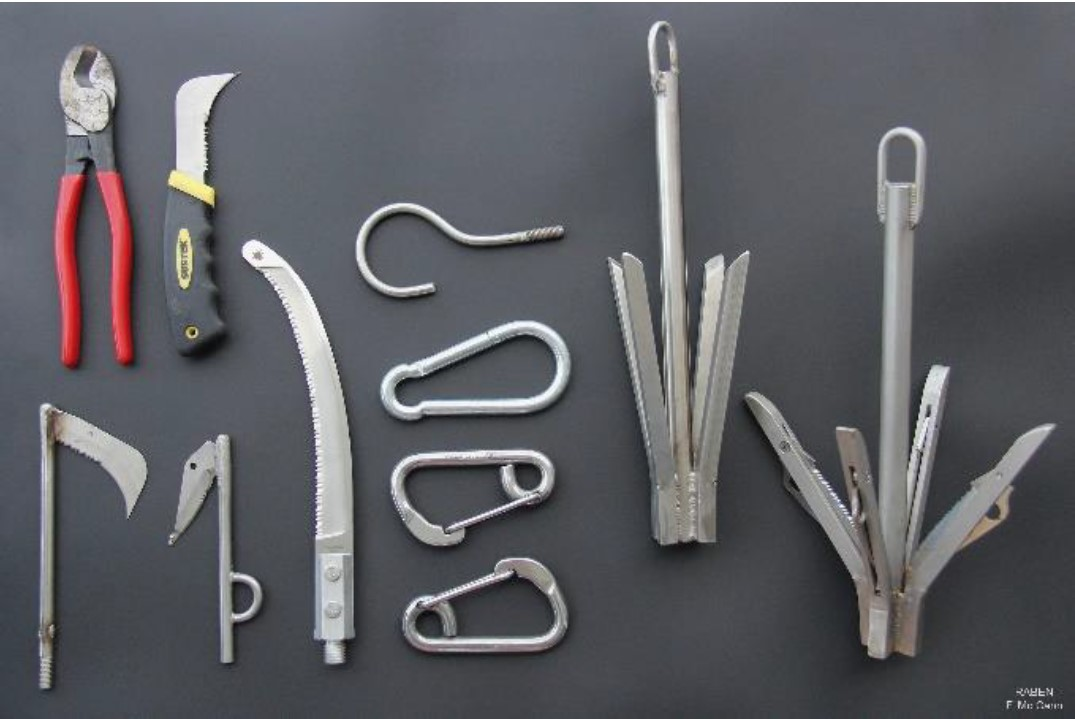 Custom designed tools for disentangling a large whale.